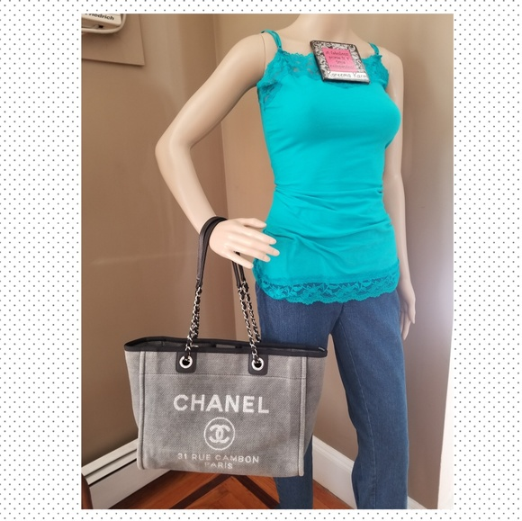 CHANEL Handbags - Authentic Chanel Deauville Tote Grey